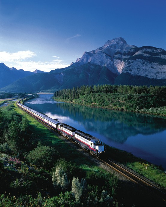 Photo:  Rocky Mountaineer travelling between British Columbia & Alberta