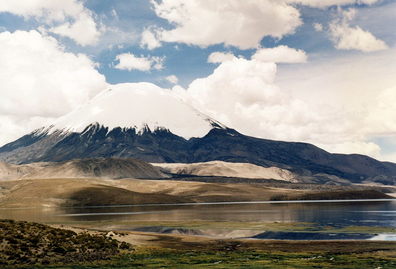 Photo:  Chungará Lake and Parinacota volcano