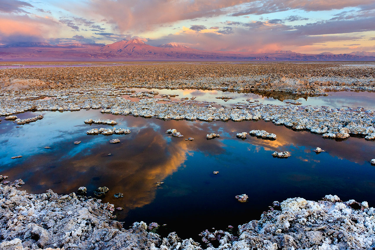 Photo:  The Atacama Dry lake, in Chile. At the horizon, the Licancabur volcano