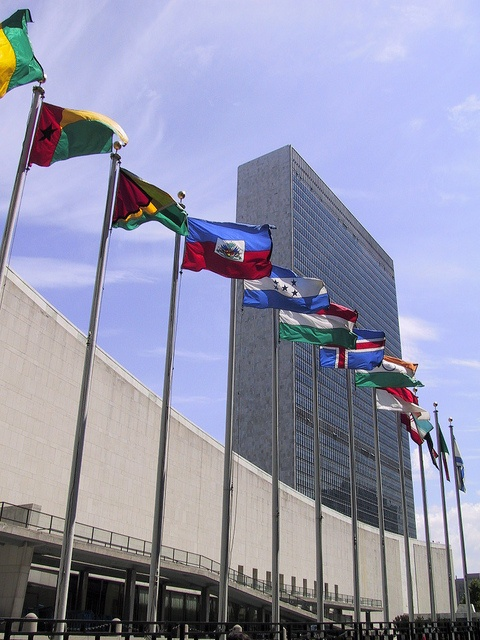 Photo:  NYC. Line of National Flags in front of the UN Headquarters in Manhattan.