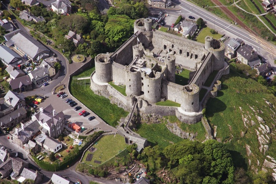 Photo:  Air view, Harlech Castle. England. 1286