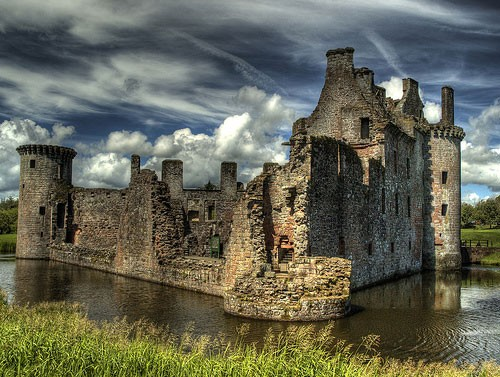 Photo:  Caerlaverock Castle is a triangular moated castle dating back to the 13th century located south of Dumfries in the south west of Scotland, UK