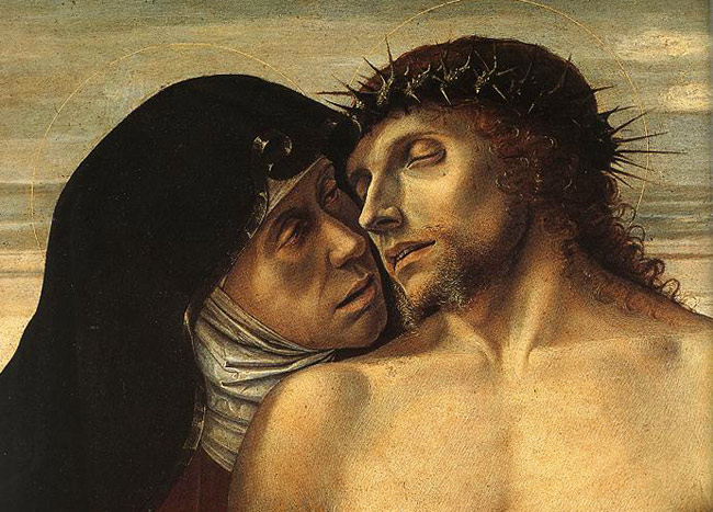 Photo:  Giovanni Bellini, Dead Christ Supported by the Madonna and St John (Pietà), detail, 1460