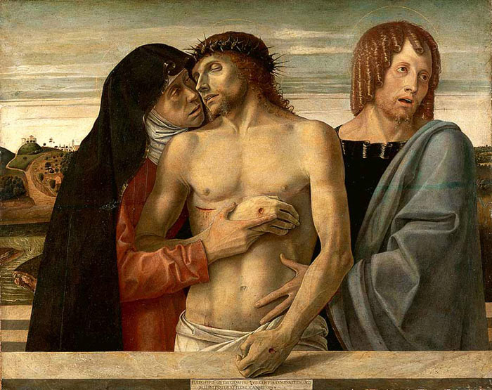 Photo:  Giovanni Bellini, Dead Christ Supported by the Madonna and St John (Pietà),1460