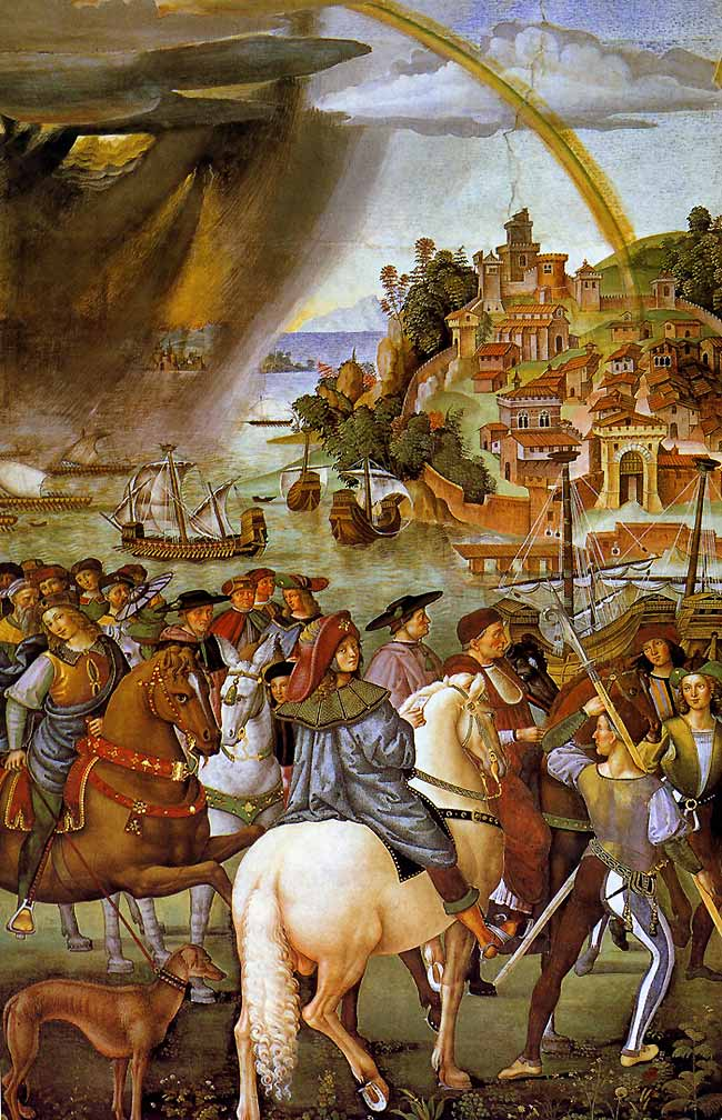 Photo:  Aeneas Piccolomini leave for the Council of Basel, detail 1, 1502