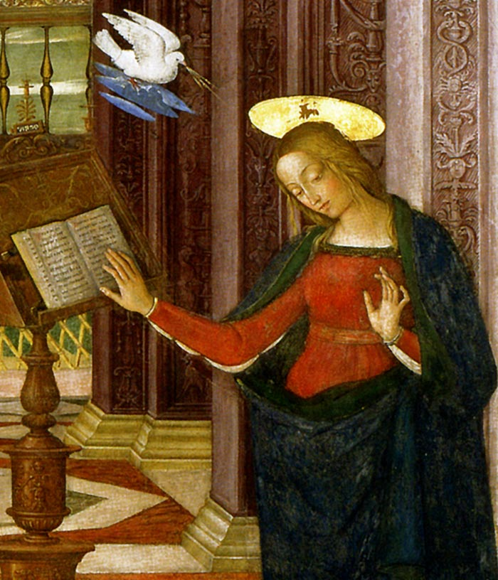 Photo:  Annunciation, detail, 1501 (Spello, Perugia, Italy)