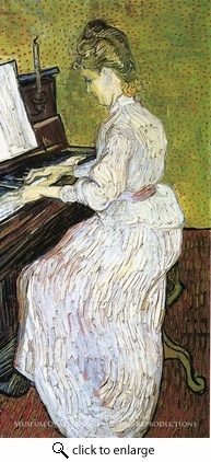 Photo:  Marguerite Gachet at the Piano, 1890, oil on canvas. Vincent van Gogh