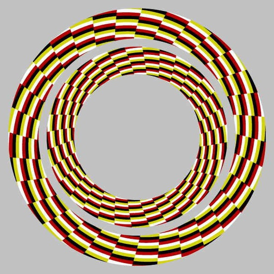 Photo:  Look at center of this optical illusion while moving toward or away from screen and concentric circles