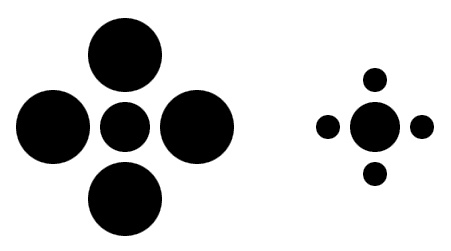 Photo:  Look at the dots in the center. Which one is bigger