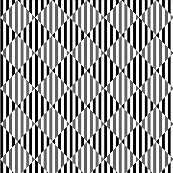 Photo:  Look the diagonal lines.They are perfectly straight and parallel, as well as the rectangles they form intersecting, something obviously doesn't seem right