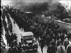 Photo:  30,000 Jews being led to concentration camps after Kristallnacht