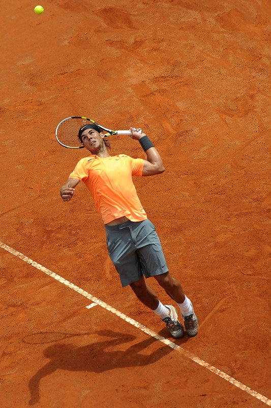 Photo:  Spanish Rafael Nadal Serves to Novak, first set Mens Final Rome 2012