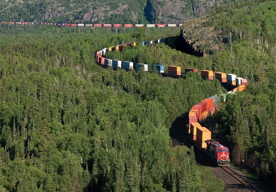 Photo:  Intermodal train in Northern Ontario, Canada