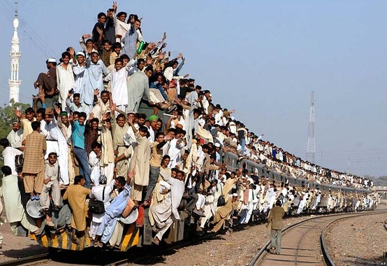 Photo:  Rush hour on Pakistan Rail