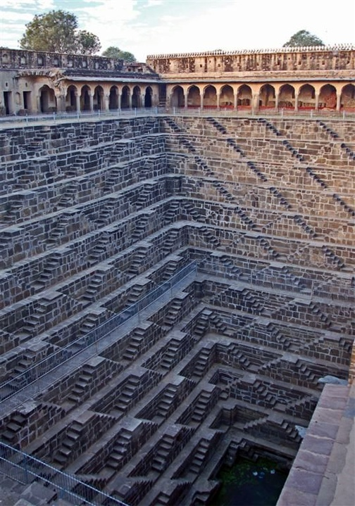 Photo:  This is the deepest stair well in the world. People climb this with buckets of water. Rajasthan, India